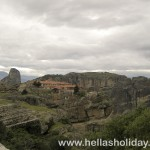 Monastery on top of meteora giant rock
