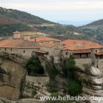 Monastery on top of meteora giant rock, close view